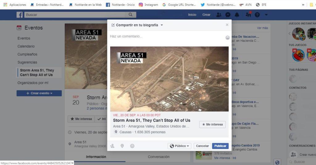 Un reto de Facebook conmina a cazar aliens en el Área 51
