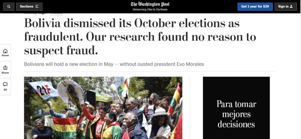#VTanálisis: Hegemón comunicacional reconoció inexistencia de fraude electoral en Bolivia