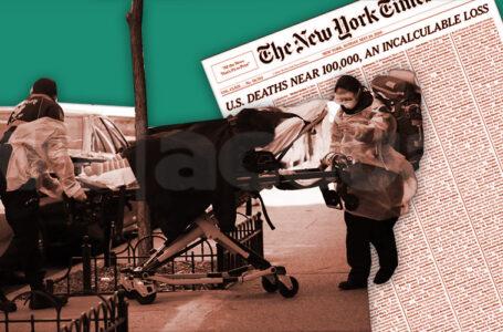 Una portada de The New York Times personaliza la tragedia del Covid-19 en EE.UU. / Foto: VTactual