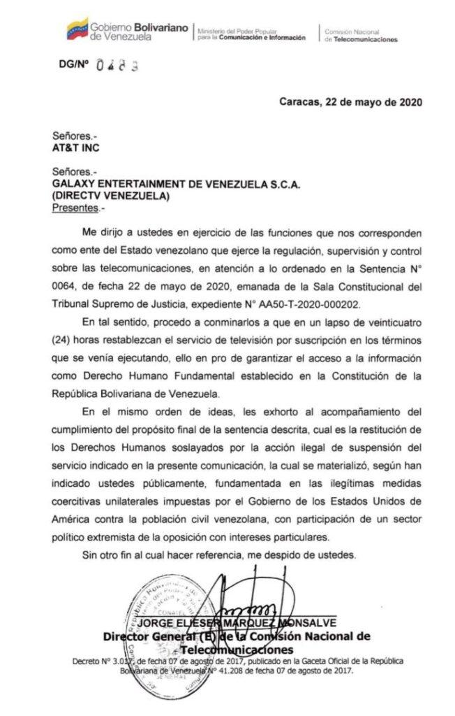 Autoridad venezolana de telecomunicaciones exigió a AT&T reponer el servicio de Directv
