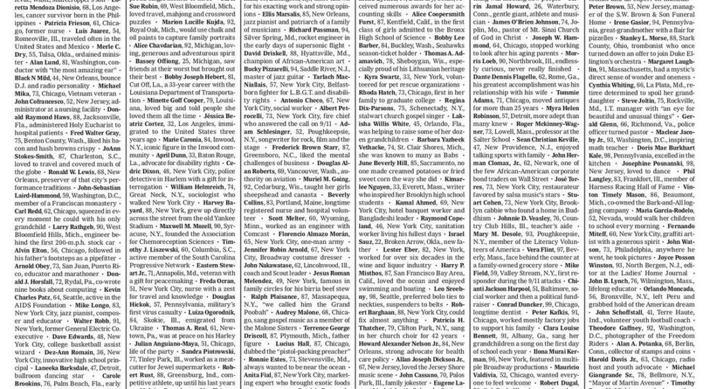 Una portada de The New York Times personaliza la tragedia del Covid-19 en EE.UU.