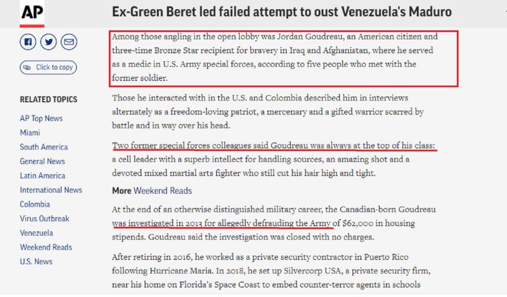 Ficción para la cuarentena: AP lava las manos de EE.UU. y Colombia en torno a una invasión contra Venezuela